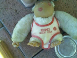 Rodney needs love monkey doll left at bus stop
