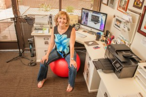 Pamela hard at work in her office!
